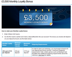 William Hill Monthly Casino Bonus