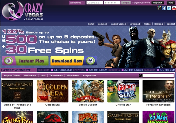 crazy slots casino bonus codes